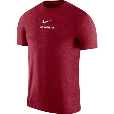 Arkansas Nike Dry Short Sleeve Coaches Tee CRIMSON