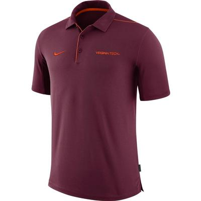 Virginia Tech Nike Dri-FIT Team Issue Polo MAROON