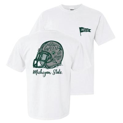 Michigan State Comfort Colors Hand Drawn Helmet Tee