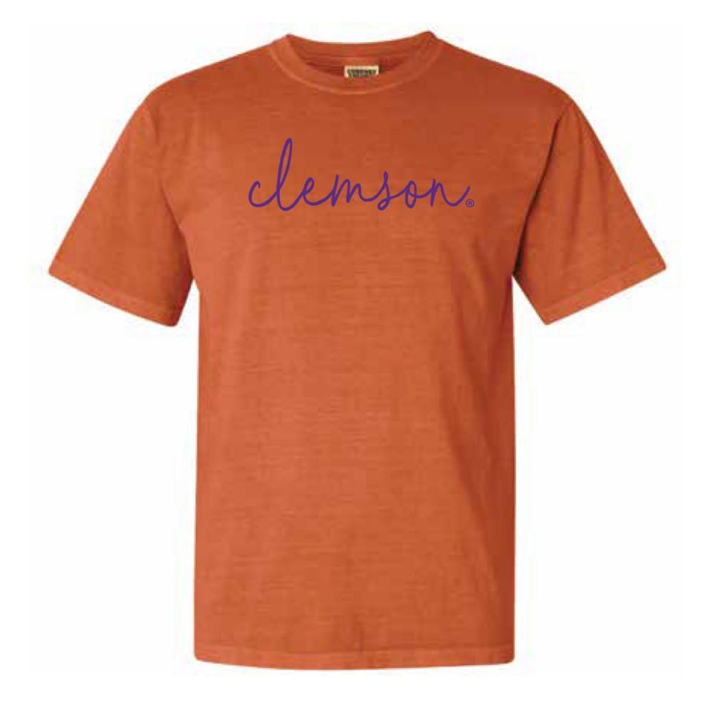 Clemson Comfort Colors Simple Script Tee