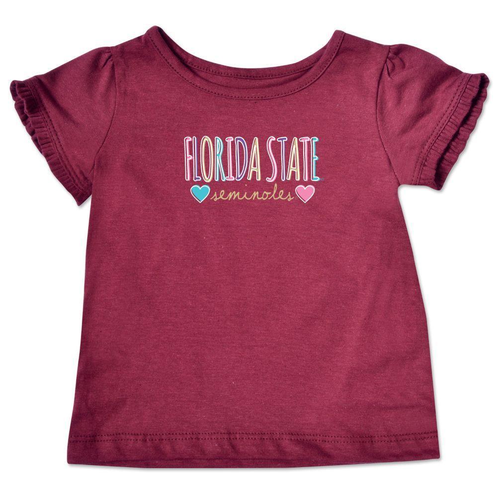 Florida State Infant Girls Ruffle Sleeve T Shirt