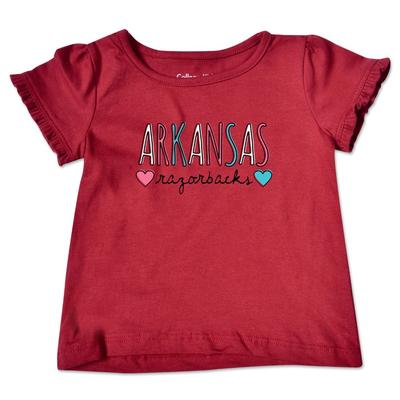 Arkansas Infant Girl Ruffle Sleeve T Shirt