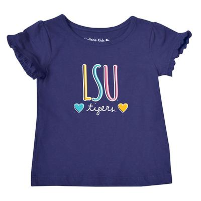 LSU Infant Girls Ruffle Sleeve T Shirt