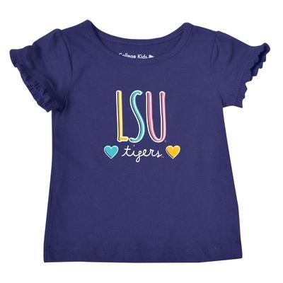 LSU Infant Girls Ruffle Sleeve T Shirt