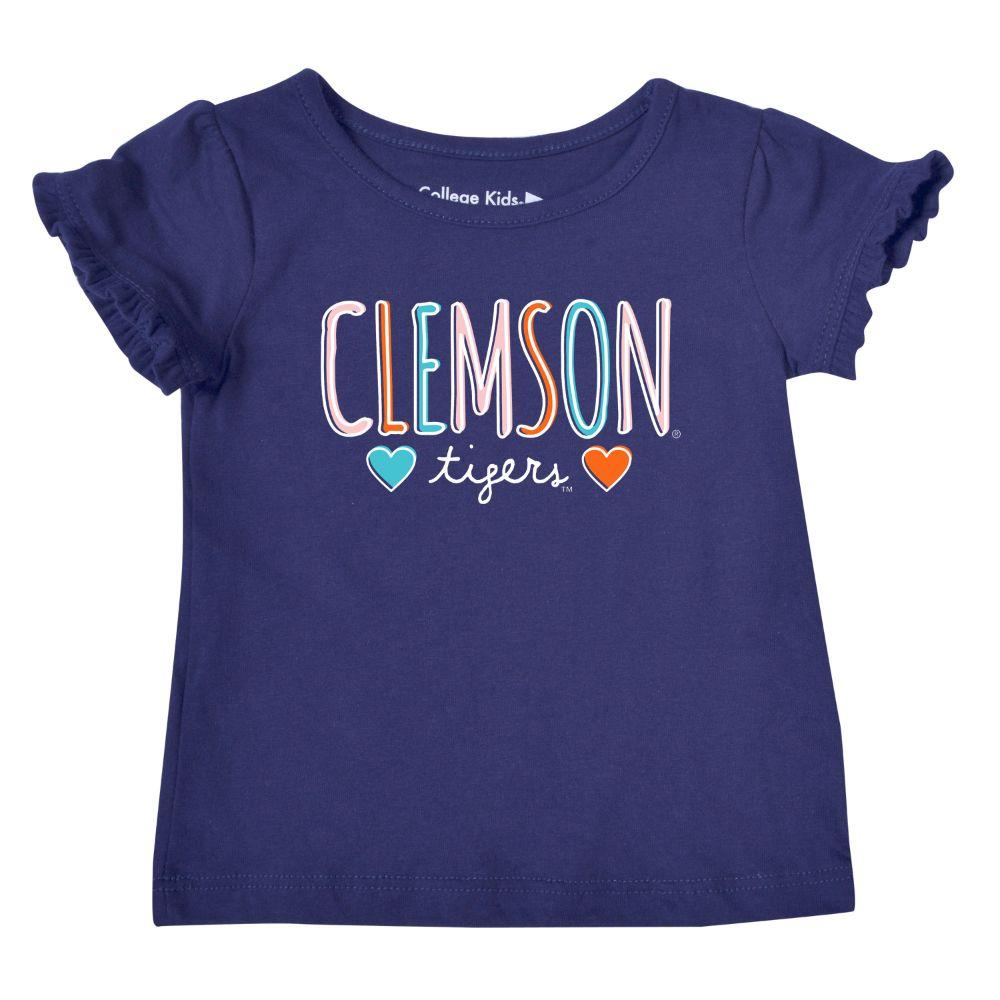 Clemson Infant Girls Ruffle Sleeve T Shirt