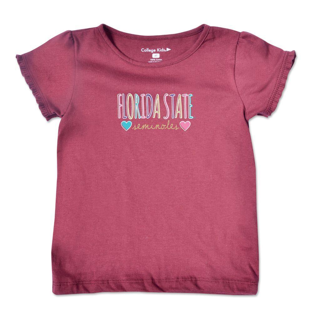Florida State Toddler Girls Ruffle Sleeve T Shirt