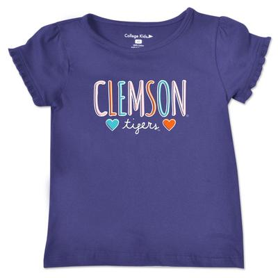 Clemson Toddler Girls Ruffle Sleeve T Shirt