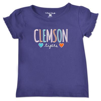 Clemson Toddler Girls Ruffle Sleeve T Shirt