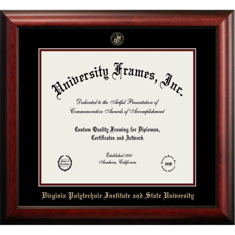 Virginia Tech Mahogany Diploma Frame