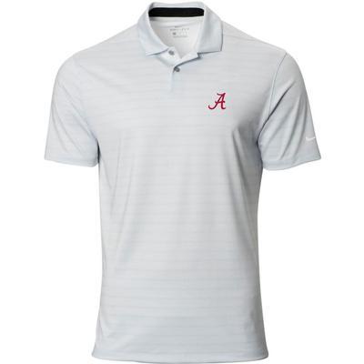Alabama Nike Golf Script A Vapor Stripe Polo PURE_PLATINUM