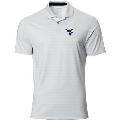 West Virginia Nike Golf WV Vapor Stripe Polo PURE_PLATINUM