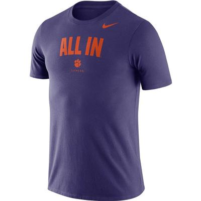 Clemson Nike Dri-FIT Cotton Short Sleeve Local Tee NEW_ORCHID