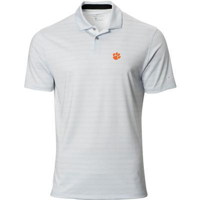 Clemson Nike Golf Logo Vapor Stripe Polo PURE_PLATINUM