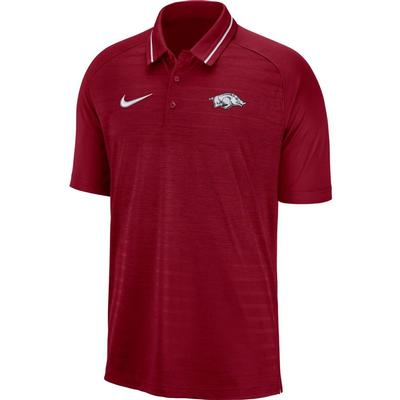 Arkansas Nike Dri-FIT Striped Polo TEAM_CRIMSON