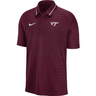 Virginia Tech Nike Dri-FIT Striped Polo MAROON