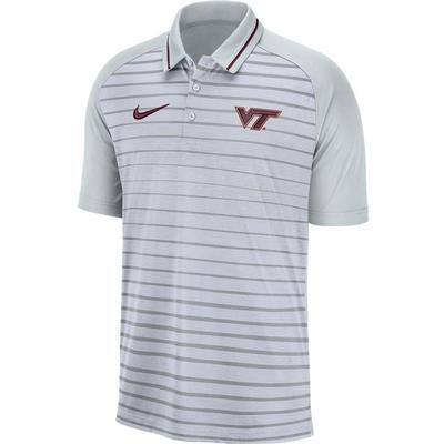 Virginia Tech Nike Dri-FIT Striped Polo WOLF_GREY