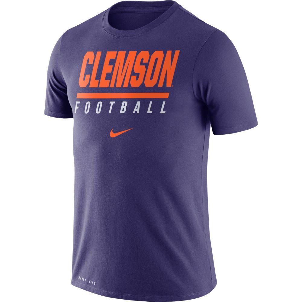Clemson Nike Dri- Fit Cotton Icon Football Tee