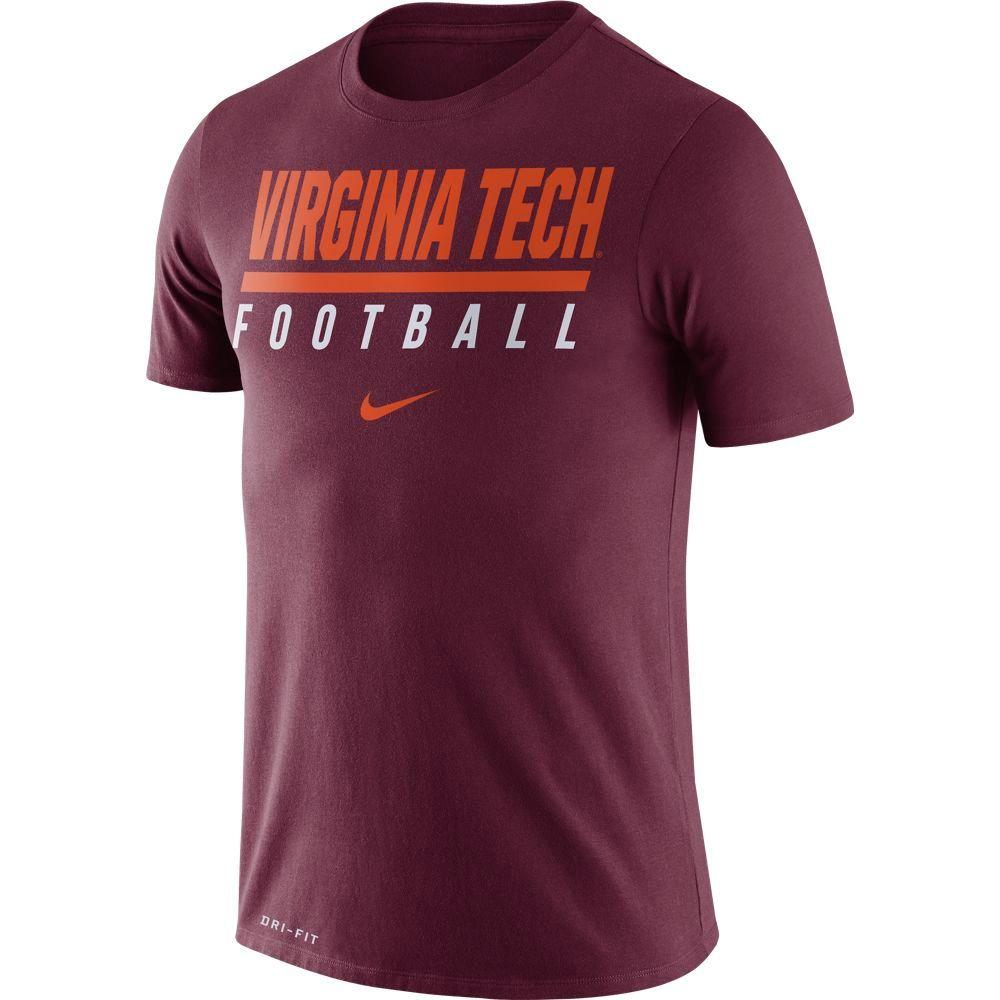 Virginia Tech Nike Dri- Fit Cotton Icon Football Tee