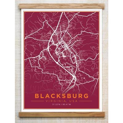 Chirpwood Blacksburg Canvas Map 18