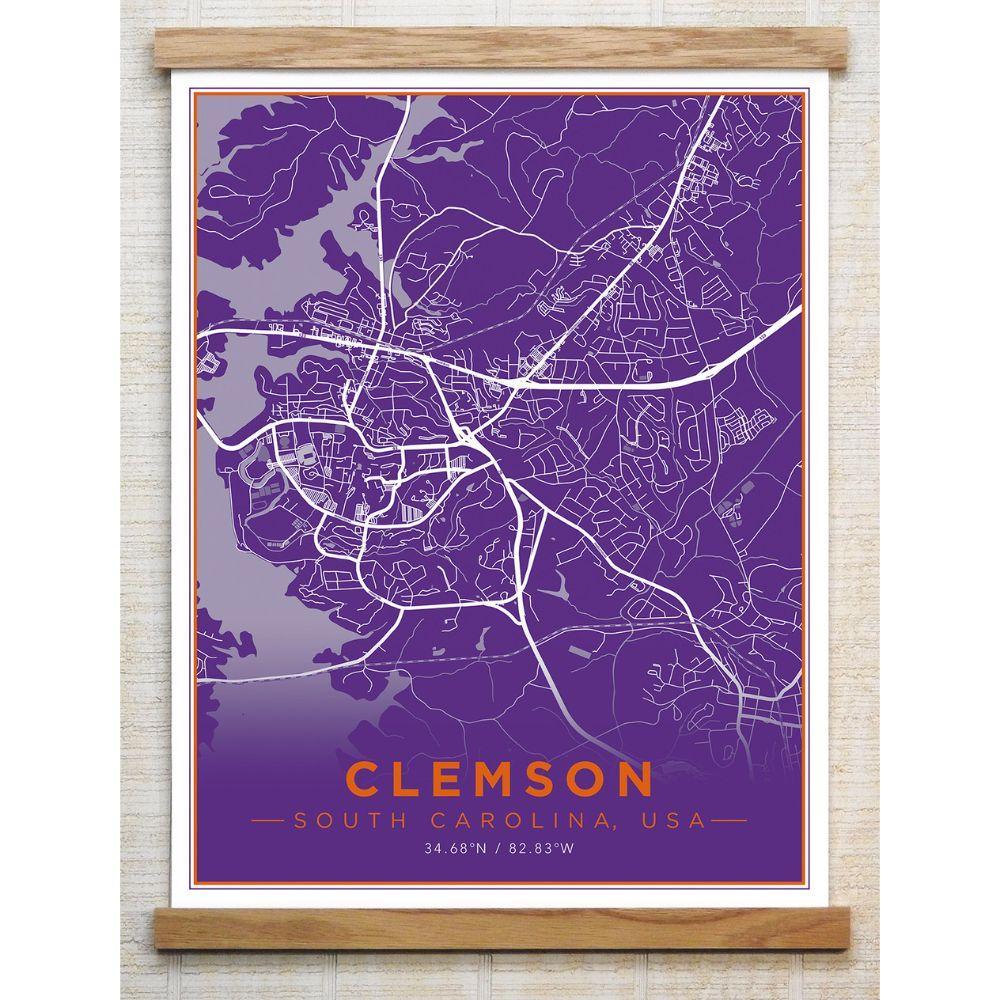 Chirpwood Clemson Canvas Map 18