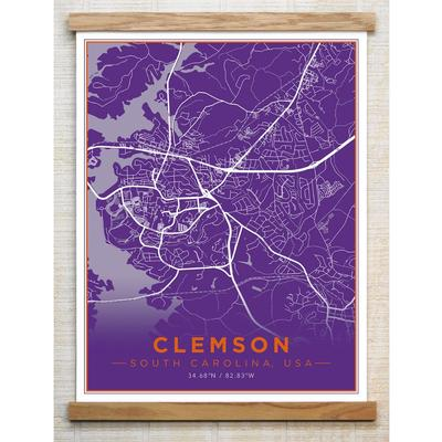 Chirpwood Clemson Canvas Map 18