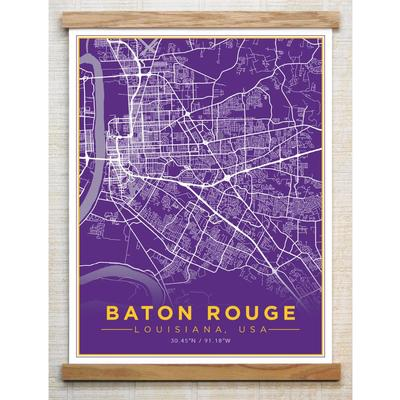 Chirpwood Baton Rouge Canvas Map 18