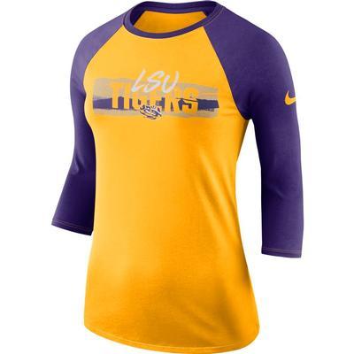 LSU Nike Women's Dri-FIT 3/4 Sleeve Raglan Top