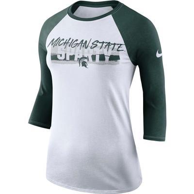 Michigan State Nike Women's Dri-FIT 3/4 Sleeve Raglan Top