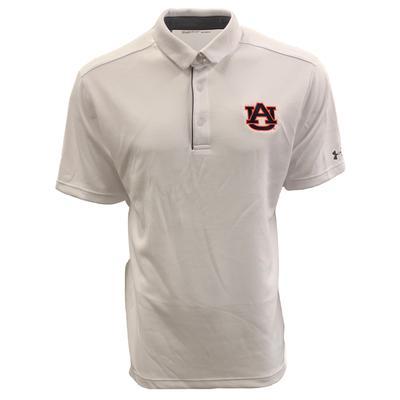 Auburn Under Armour Logo Tech Polo WHITE