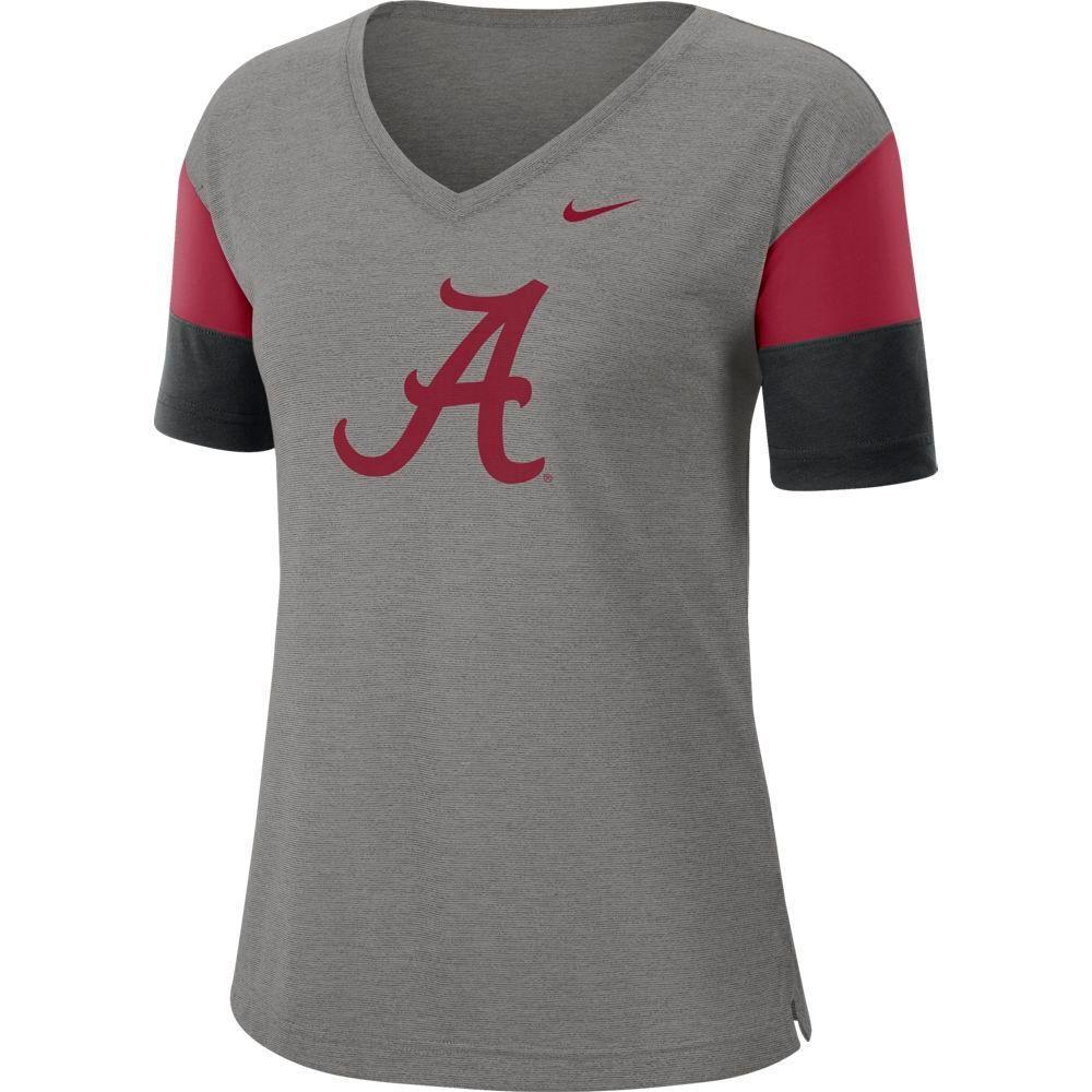 Alabama Nike Women's Dri- Fit Breathe V- Neck Top