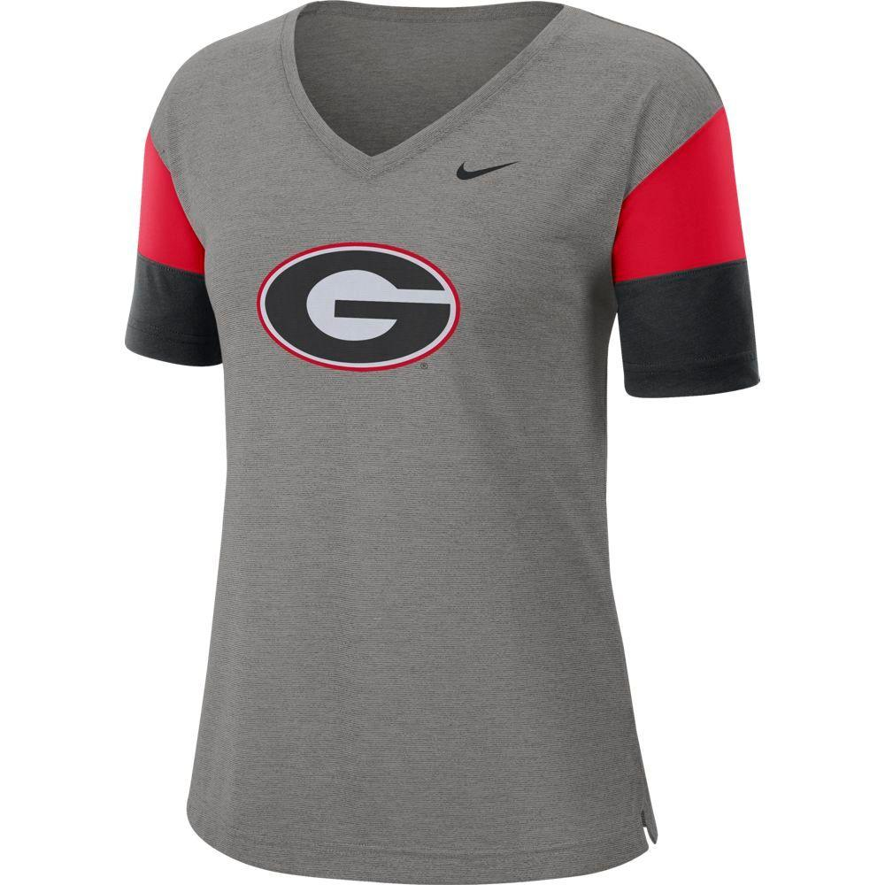 Georgia Nike Women's Dri- Fit Breathe V- Neck Top