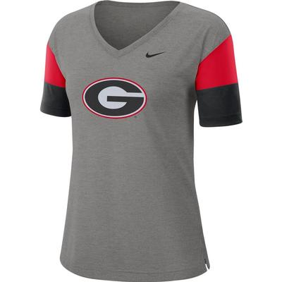 Georgia Nike Women's Dri-FIT Breathe V-Neck Top