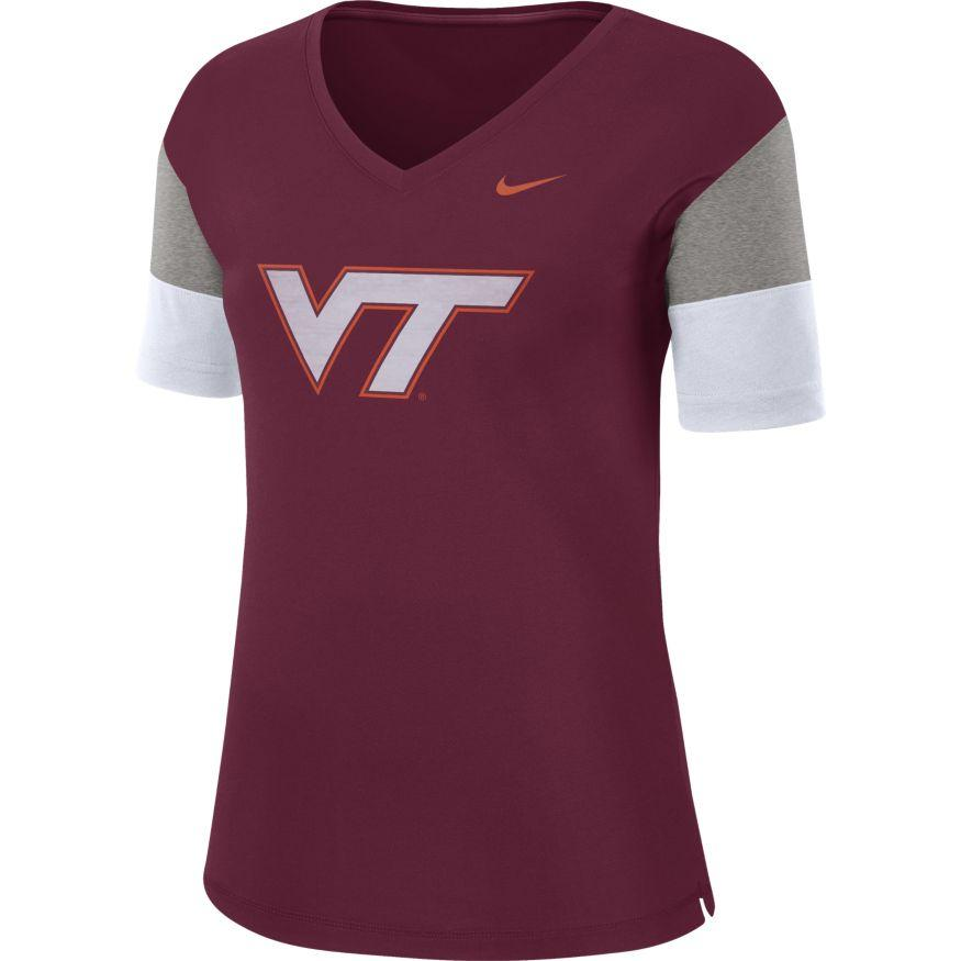 Virginia Tech Nike Women's Dri- Fit Breathe V- Neck Top