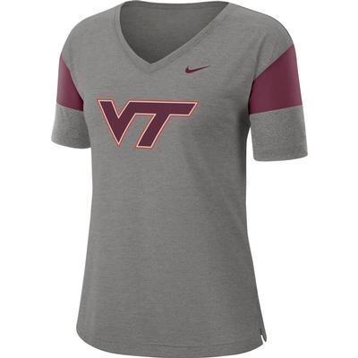 Virginia Tech Nike Women's Dri-FIT Breathe V-Neck Top DK_GREY_HTHR