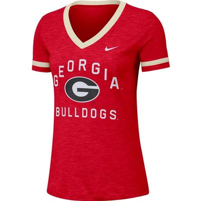 Georgia Nike Women's Dri-FIT Slub V-Neck Fan Top