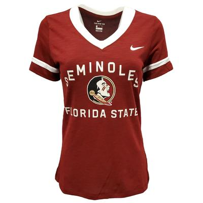 Florida State Nike Women's Dri-FIT Slub V-Neck Fan Top