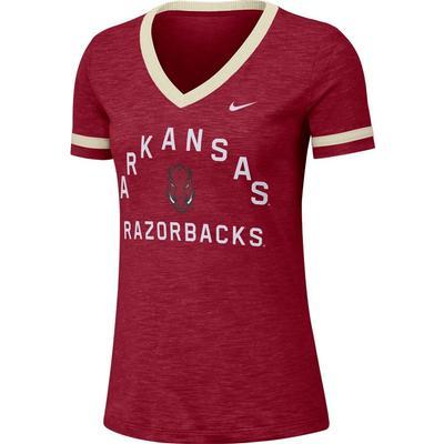 Arkansas Nike Women's Dri-FIT Slub V-Neck Fan Top