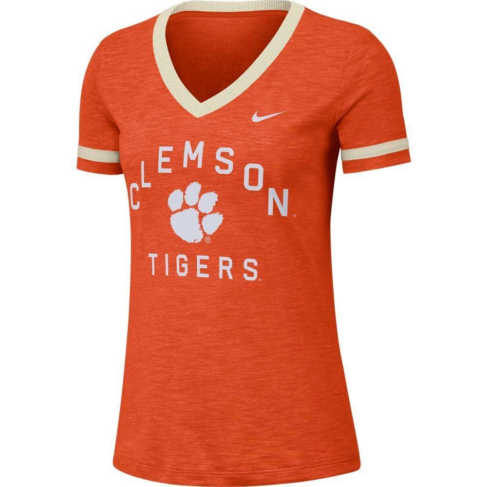 Clemson Nike Women's Dri- Fit Slub V- Neck Fan Top