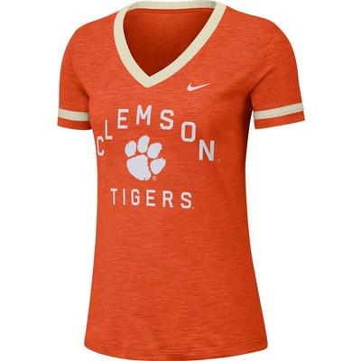 Clemson Nike Women's Dri-FIT Slub V-Neck Fan Top