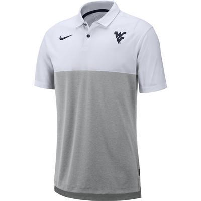 West Virginia Nike Breathe Color Block Polo WHITE