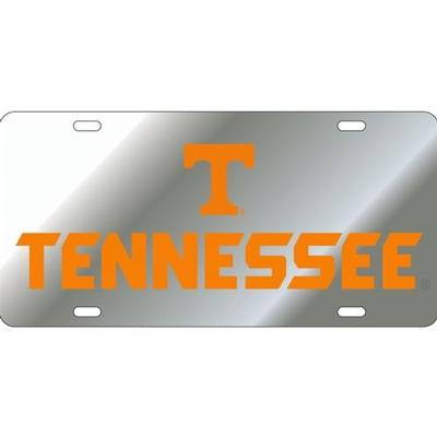 Tennessee License Plate Silver With Orange TN Font