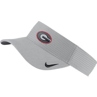 Georgia Nike Aerobill Sideline Visor SILVER
