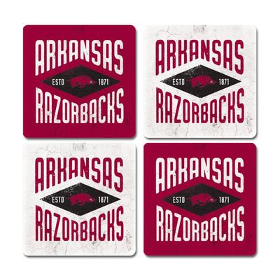 Arkansas Legacy Diamond Coaster Set - 4 Pack