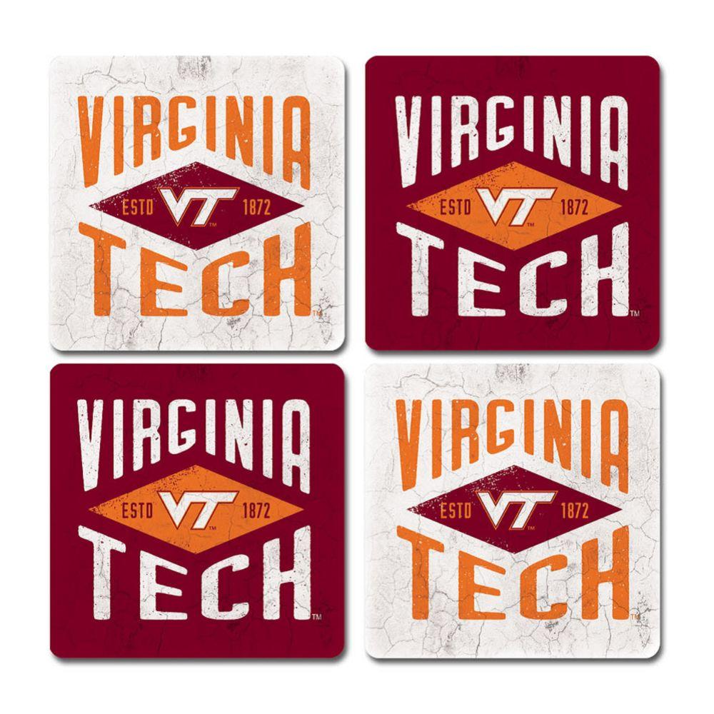 Virginia Tech Legacy Diamond Coaster Set - 4 Pack
