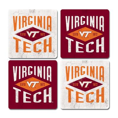 Virginia Tech Legacy Diamond Coaster Set - 4 Pack