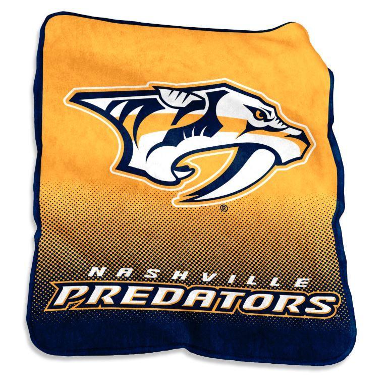 Nashville Preds Logo Chair Raschel Throw Blanket