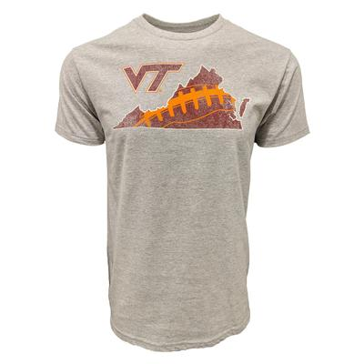 Virginia Tech Laces in State Football T-Shirt GREY