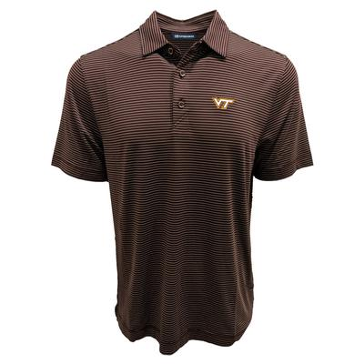 Virginia Tech Cutter & Buck Forge Pencil Stripe Polo
