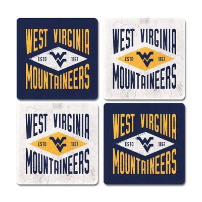 West Virginia Legacy Diamond Coaster Set - 4 Pack