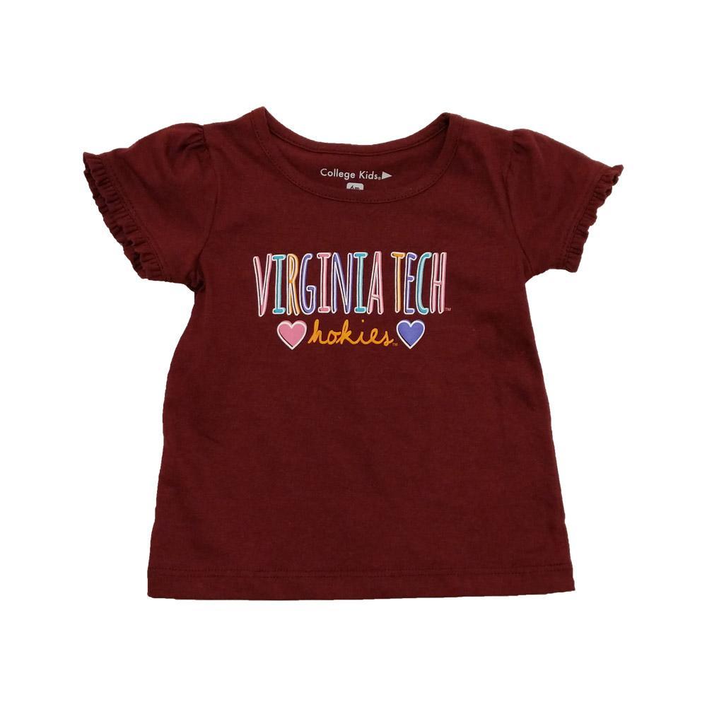Virginia Tech Infant Girls Ruffle T- Shirt